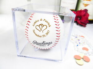 Personalized Baseball Bride Groom Anniversary Wedding Linked Hearts with Cube