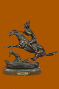 Bronze Sculpture American Indian Chief Sitting On Horse Marble Base Decor Deal