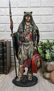 Brave Tribal Indian Native Warrior Hunter With Bear Headdress Winter Coat Statue