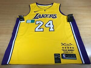 NIKE DRI-FIT NBA LOS ANGELES LAKERS KOBE BRYANT 24 RETIREMENT HOME JERSEY 56 2XL