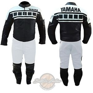 BIKER LEATHER SUIT Yamaha 6728 Black & White Motorcycle Jacket Motorbike Trouser