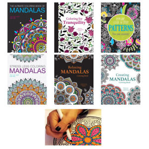 6 Adult Coloring Book Mandala Geometrical Designs Stress Relief Relaxation Color