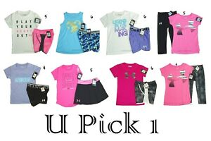Under Armour Tee Shorts Girls Athletic Sports Set Outfit Youth Top Bottoms Shirt $26.00