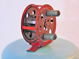 Vintage Red Metal Skeleton Trolling Fly Fishing Reel Tackle Old Antique Skeletal