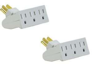 2 Pack TWO PACK of 3 Outlet Swivel Electrical Power Grounded Wall Socket Taps