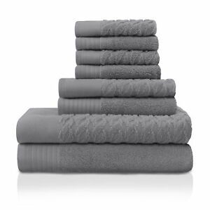 Pure Turkish Cotton 8-Piece Towel Set Grey