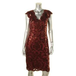 Tadashi Shoji 3615 Womens Red Lace Sequined Double V Cocktail Dress 12 BHFO