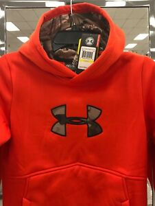 New $55 Under Armour Youth Hoodie YMD Loose Hooded Sweatshirt Boy's Orange Camo