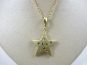 Star Shape 18K Yellow Gold Pendant Necklace 16