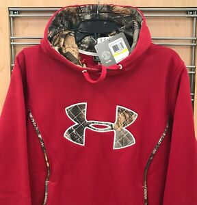 New $65 Under Armour Women's Hoodie Hooded Sweatshirt Loose Styl Pink Red w Camo