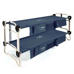 Disc-O-Bed Large Cam-O-Bunk Bunked Double Camping Cot w Organizers Navy Blue
