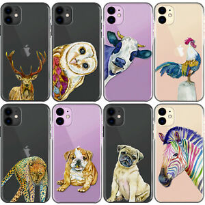 Pug Phone Case, Animal Zebra Cow Bulldog on Clear Hard Cover For Apple iPhone