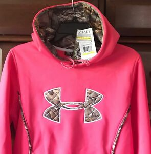 New $65 Under Armour Women's Hoodie Hooded Sweatshirt Loose Style Pink w Camo M