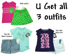 Carters Nike Tee Shorts UA ON Set Outfit Girls Lot Top Bottoms Shirt Summer