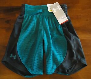 NWT UNDER ARMOUR MESH SHORTS LOOSE FIT AQUA GRAY GIRLS XSMALL YXS
