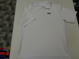 UNDER ARMOUR  HEATGEAR  WHITE POLO GOLF SHIRT  BOYS  YOUTH LARGE LOOSE   EUC