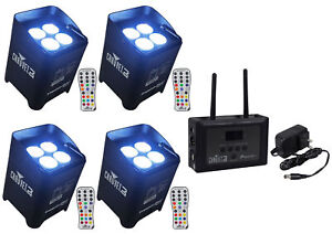 (4) Chauvet DJ Freedom Par Hex 4 Wireless DMX PAR Wash Up Lights+Wi-Fi Receiver