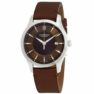 Victorinox Swiss Army Mens Watch Alliance Date Brown Dial Leather Strap 241805 $99.99