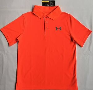 NWT youth Boys' YSM small UNDER ARMOUR knit POLO heatgear GOLF shirt ORANGE UA