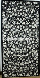 Black Mother of Pearl Stone Marble Dinette Table Inlaid Hallway Decoration H3457