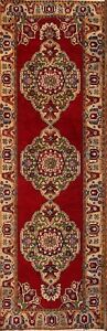 Vintage Floral Red Runner 4x11 Anatolian Turkish Oriental Wool Rug 11' 1