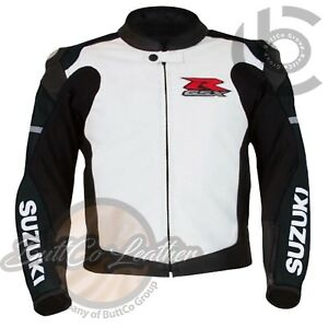 SUZUKI 1078 Black Hand Made Leather Coat Motorcycle Racing Armoured Biker Jacket