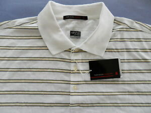 RARE~Nike~TIGER WOODS COLLECTION OPEN STRIPE Golf DRI-FIT Polo Shirt top~Men 2XL