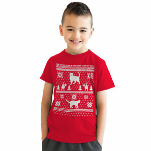 Youth 8 Bit Cat Butt Ugly Christmas Sweater Computer Game T shirt for Kids