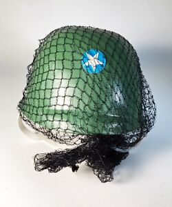 Vintage 1970's Child Size Plastic Helmet with Camouflage Netting - Hong Kong