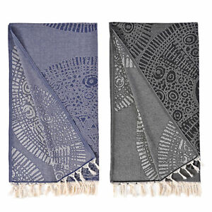 Authentic Pestemal Fouta Anna Jacquard Turkish Cotton Bath Beach Towel