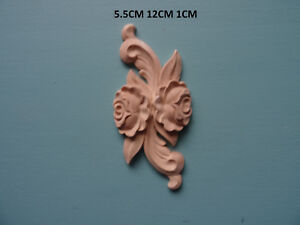 Decorative wooden rose double applique furniture moulding onlay WK9