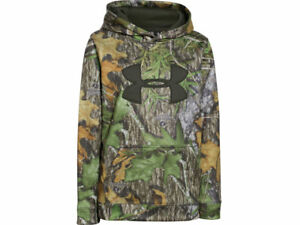 NWT Under Armour Youth UA Camo Big Logo Hoodie Polyester Mossy Oak Obsession YLG