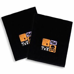 Halloween Embroidered Cat and Ghosts on Black Turkish Cotton Hand Towels (Set of