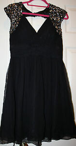 Scala Black Silk Chiffon Silver Sequins Short Cocktail Dress Sz 10 Evening Party