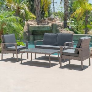 All Weather Outdoor UV Resistant 4 Piece Outdoor Lounge Wicker Set Brown Grey