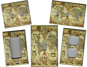 OLD WORLD MAP HOME WALL DECOR LIGHT SWITCH PLATES AND OUTLETS