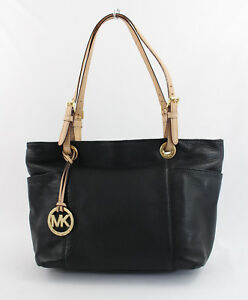 Michael Michael Kors Black Leather Beige Handle Straps Handbag Shoulder Bag