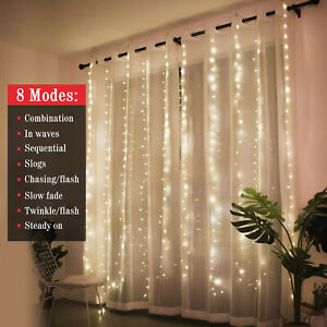 300LED 10ft Curtain Fairy Hanging String Lights Wedding Valentines Day Decor US $11.98