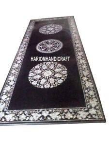 8'x4' Black Marble Top Dining Table Mother of Pearl Inlaid Marquetry Arts H3021