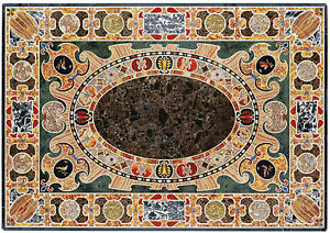 5'x3' Royal Pietra Dura Marble Inlay Marvelous Dining Table Top Living Room Arts