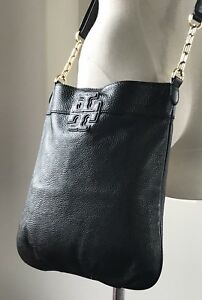 Authentic Tory Burch Black Pebbled Leather  Crossbody Bag Adj Long Strap Gold HW