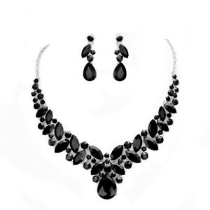 Women Elegant Black Crystal Statement Chunky Silver Necklace Earring Jewelry Set