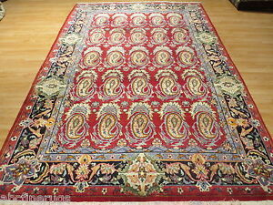 7x10 Persian Allover-Pattern Paisley Vegetable Dye Hand-knotted Wool Rug 580194