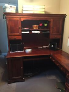 computer desk with hutch wood brown drawers used and very elegant.