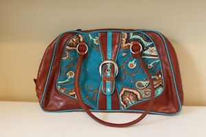 Isabella Fiore Satchel Leather and Corduroy Vintage Blue and Brown Handbag