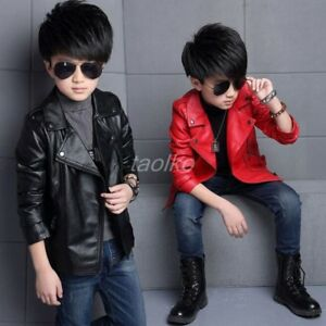 Children Girls Coats And Jackets Boys Synthetic Leather Lapel Collar Jacket size