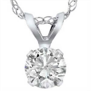 .90 Carat Solitaire Pendant Natural Diamond 14K White Gold Womens Necklace