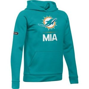 Miami Dolphins Under Armour Youth Combine Authentic Lockup Armour Hoodie - Aqua