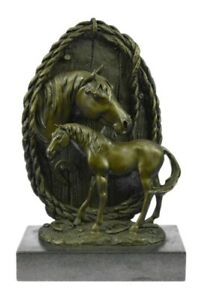 Race Horse Head Bronze Sculpture Bust Statue Thoroughbred By Miguel Lopez Figure