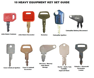 10 Heavy Construction Equipment Ignition Key Set Caterpillar Case JD Komatsu